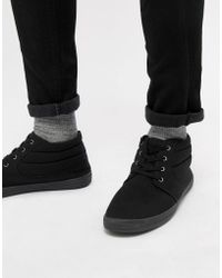 ASOS - Design Chukka Boots In Black Canvas - Lyst