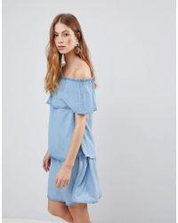 Vila - Denim Tiered Off Shoulder Dress - Lyst