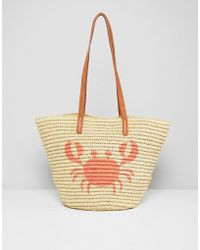 Chateau - Crab Print Straw Beach Bag - Lyst