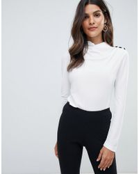 ASOS - Asos High Drape Neck Top With Button Detail - Lyst
