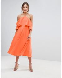 ASOS DESIGN - Asos Ruffle Top Midi Dress - Lyst