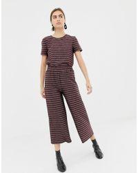 Pieces - Kasey Wide Leg Metallic Stripe Culottes - Lyst