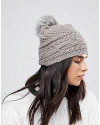 Alice Hannah - Chunky Cable Knitted Hat - Lyst