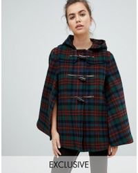 Gloverall - Exclusive Cape Duffle In Tartan - Lyst