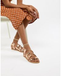 South Beach - Rose Gold Gladiator Sandals - Lyst