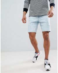 Bershka - Slim Fit Denim Shorts In Light Blue With Abrasions - Lyst