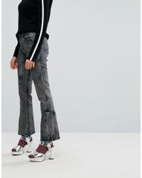 Iceberg - Pleat Detail Crop Kick Flare Jeans With Let Down Hem - Lyst