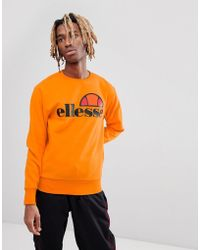 Ellesse - Sweat With Large Chest Logo In Orange - Lyst