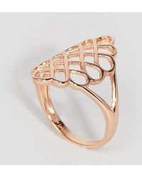 Lavish Alice - Sterling Silver Rose Gold Plated Oversized Honeycomb Ring - Lyst
