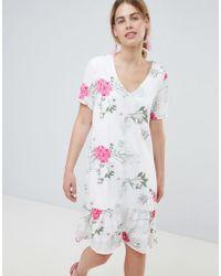Pieces - Enna Ditsy Floral Print Drop Waist Dress - Lyst