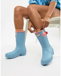 HUNTER - Blue Colourblock Original Short Wellington Boots - Lyst