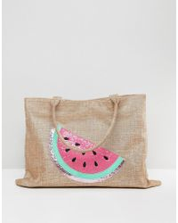 Chateau - Watermelon Embroidered Straw Bag With Tassles - Lyst