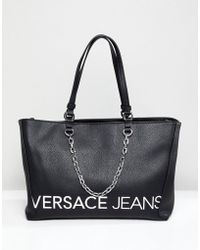 Versace Jeans - Contrast Logo Tote Bag With Internal Pockets - Lyst