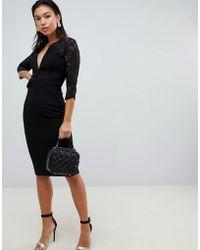 316929198d856 ASOS Ruffle Top Bardot Midi Dress in Black - Lyst