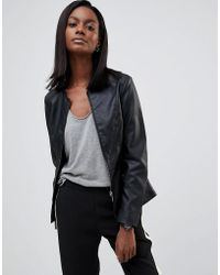 Oasis - Faux Leather Collarless Jacket - Lyst