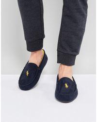 9b7204e81 Ralph Lauren Mens Snuff Tan / Navy Dezi Ii Moccasin Slippers in Brown for  Men - Lyst