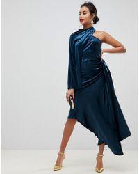 ASOS - Asymmetric Drape Dress In Velvet - Lyst
