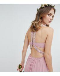 TFNC London - Embellished Back Detail Maxi Bridesmaid Dress - Lyst