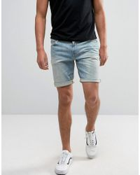 ASOS   Denim Shorts In Skinny 12.5oz Light Wash Vintage Blue   Lyst