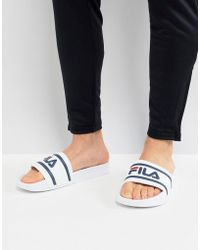 Fila - Morro Bay Logo Sliders In White - Lyst