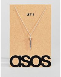 ASOS - Sterling Silver Valentines Necklace With Screw - Lyst