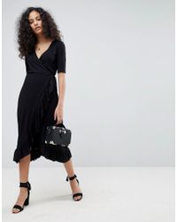 ASOS - Wrap Front Midi Tea Dress With Frill - Lyst