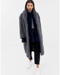 Mango - shaggy Faux Fur Coat In Grey - Lyst