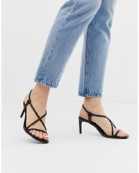 84a2f91ce63 Bershka - Strappy Skinny Sandals In Black - Lyst