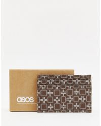 ASOS - Faux Leather Cardholder In Brown Geo - Lyst