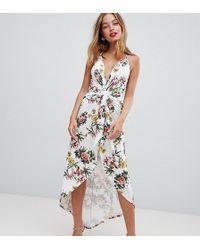 ASOS - Asos Design Petite Slinky Occasion Maxi Dress In Floral Print - Lyst