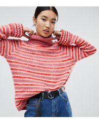 NA-KD - Roll Neck Flare Sleeve Jumper In Pink Stripe - Lyst