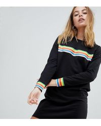 Noisy May Petite - Rainbow Stripe Sweat Dress - Lyst
