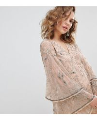 c988c92fd788 River Island - Petite Embellished Jumpsuit In Cream - Lyst