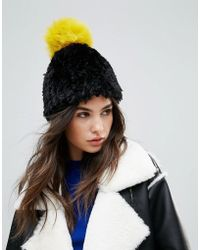 Soft Knitted Beanie Hat With Contrast Pom Pom - Black pink Urban Code KDB51ssk