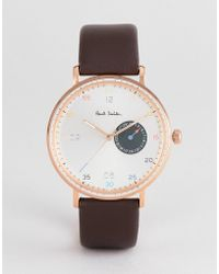 Paul Smith - Ps0060005 Gauge Leather Watch In Brown 41mm - Lyst