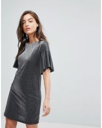 Warehouse - Metallic Frill Tunic Dress - Lyst