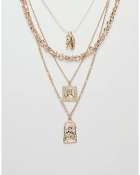 ASOS - Multirow Necklace With Vintage Style St Christopher And Religious Icon Charms In Gold - Lyst