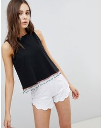 ASOS - Design Sleeveless Top With Beaded Tassel Hem - Lyst