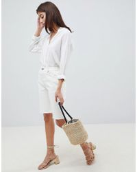 ASOS - Denim High Rise Longline Short In White - Lyst