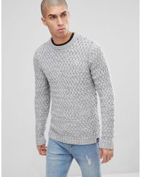 Only & Sons - Knitted Jumper With Textured Weave - Lyst