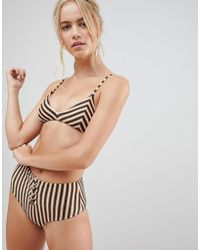 Amuse Society - Stripe High Waist Bikini Bottom - Lyst