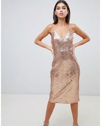 Club L - Sequin Cami Midi Dress In Gold - Lyst