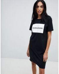 Calvin Klein - Jersey T Shirt Dress With Block Logo - Lyst