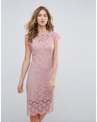 Traffic People - High Neck Contrast Lace Overlay Pencil Dress - Lyst