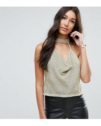 ASOS - Cami Top With Cowl Neck In Metallic Chain - Lyst