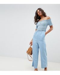 ASOS - Asos Design Tall Denim Shirred Bardot Jumpsuit In Lightwash Blue - Lyst