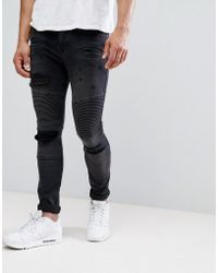 ASOS - Super Skinny Jeans With Abrasions In Biker Style - Lyst