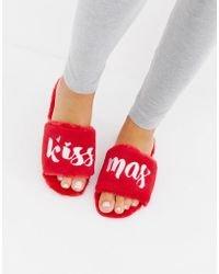 Truffle Collection - Fluffy Christmas Slippers - Lyst