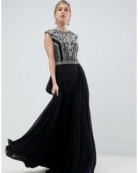 5a33f2e3d9e Forever Unique Beaded Maxi Dress in Black - Lyst