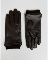 Barneys Originals - Barneys Leather Gloves With Cuff Detail Brown - Lyst